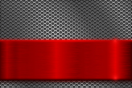 Metal perforated background with square holes. With red stainless steel plate