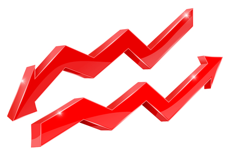 Arrows. Red financial indication arrows