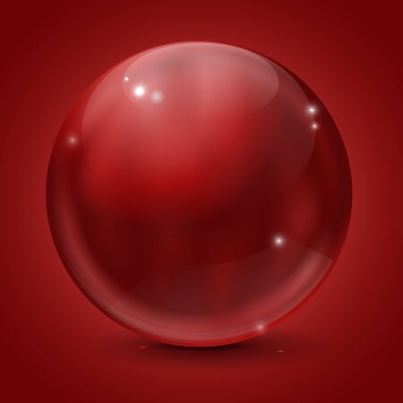 shiny buttons: Glass sphere. Red shiny ball on red background