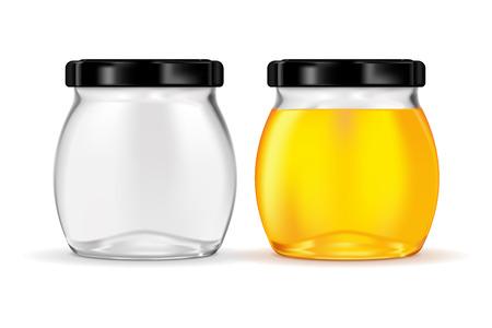 Vaso di vetro con miele Vettoriali