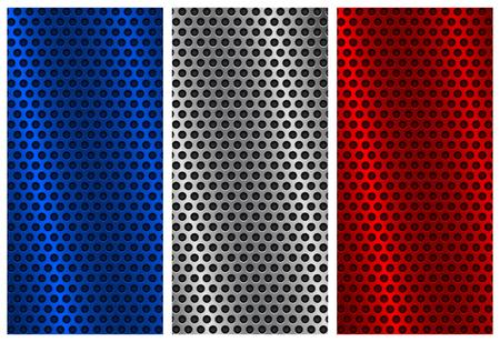 Metal los fondos perforados. Plantillas de color azul, plata y rojo Ilustración de vector