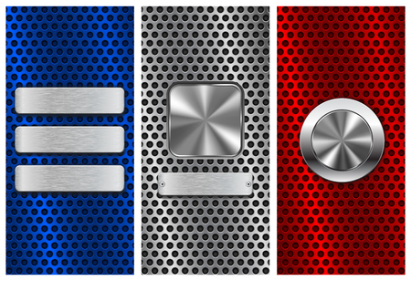 perforated: Collection of perforated backgrounds, Blue, red and silver with metal buttons