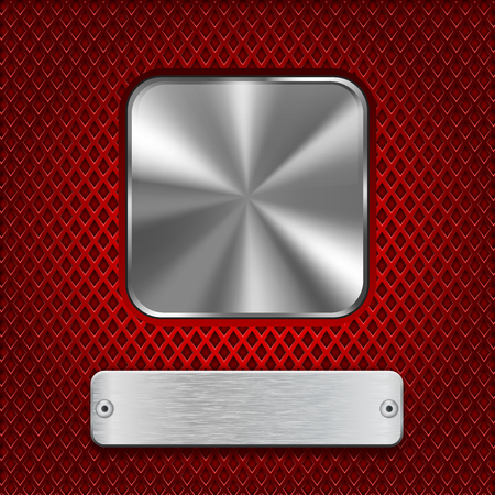 perforated: Metal square button with rectangle plate on red stainless steel perforated background. Diamond shape holes