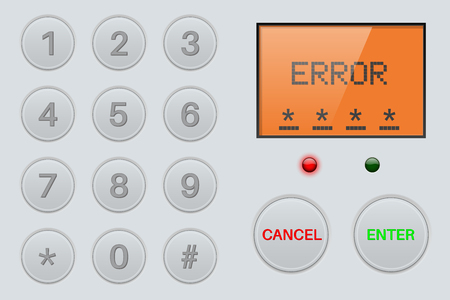 Pin enter display with number buttons and sign ERROR. Gray plastic background Vectores