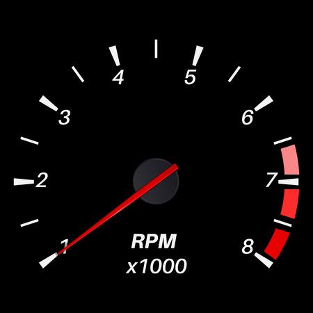 rev counter: Tachometer. Black round scale dashboard. Vector illustration