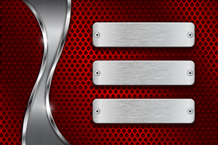 perforated: Red perforated background with blank steel plates and chrome wave