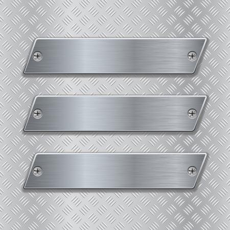 metal surface: Metal brushed plates on non-slip metallic surface