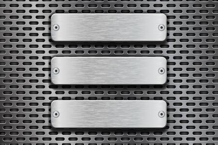 Rectangular metal buttons on iron perforated background