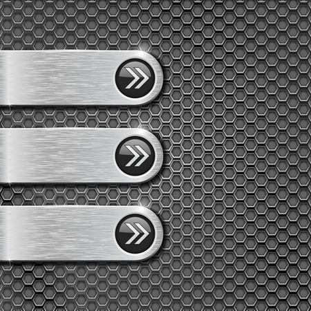 Metal perforated background with oval steel menu buttons