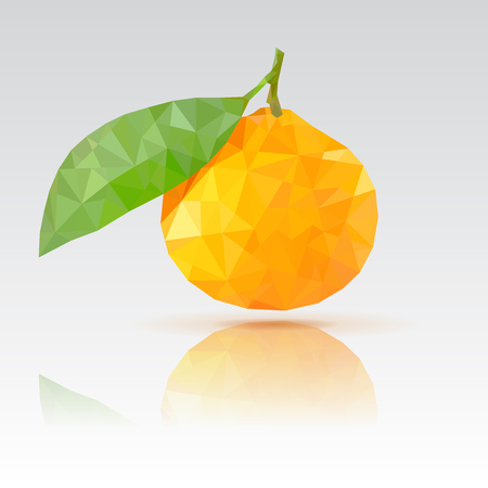Clementine with leaf. Polygonal vector illustration with reflection