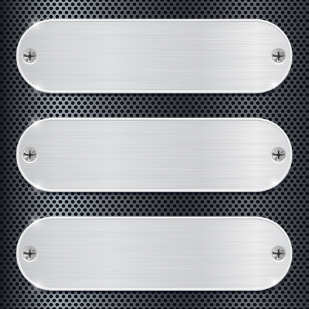Oval metal plate on perforated background