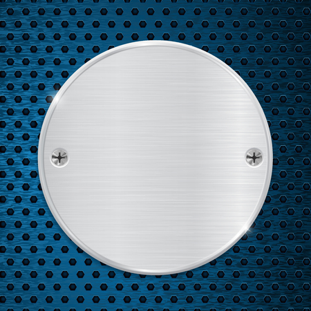 perforated: Round metal plate on blue perforated background