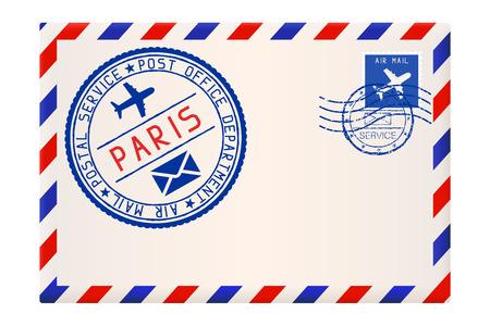 Envoi de la poste aérienne internationale de PARIS. Avec timbre postal bleu rond