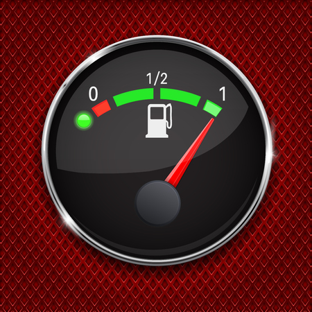 perforated: Black fuel gauge with chrome frame. Full tank