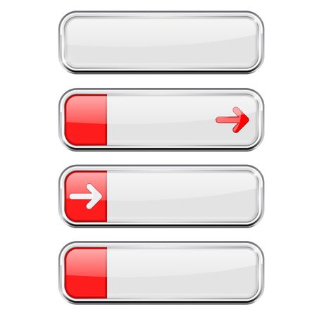 White buttons with red tags. Menu interface elements with chrome frame Ilustração