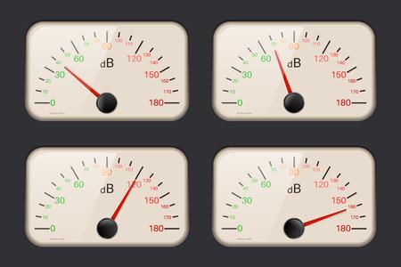 decibel: Decibel meters on dark background