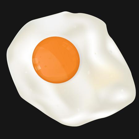 sunny side up: Fried egg on black background