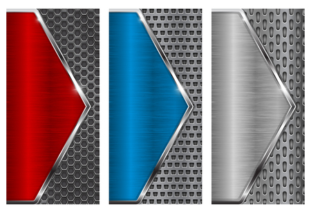 Metal brushed background with perforation. Red, blue and silver flyer templates