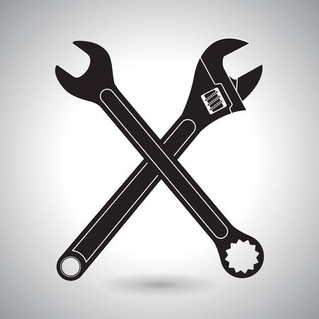 Crossed wrenches. Black silhouette signs