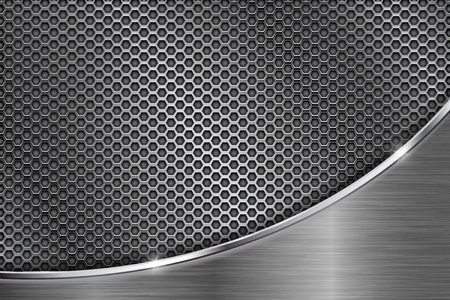 metal frame: Metal perforated background with chrome curve element. Hexagon shape holes