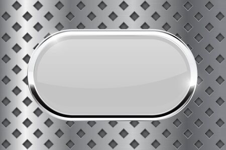 perforated: White oval button with chrome frame. Illustration