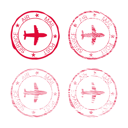 Air mail post service red faded round stamp Illustration