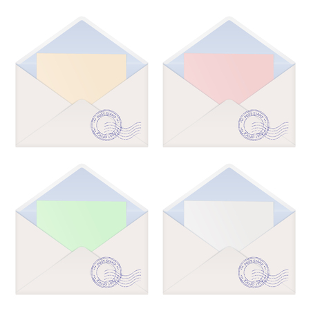envelope with letter inside colored paper royalty free cliparts