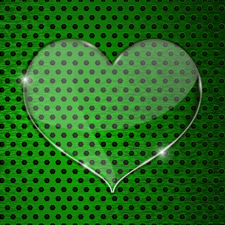 perforated: Heart transparent plate on green perforated background Illustration