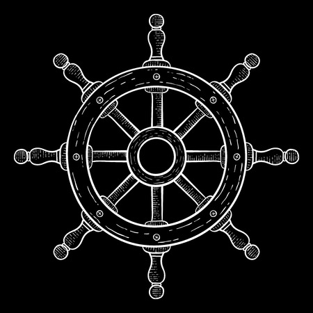 Steering wheel. Hand drawn sketch on black background