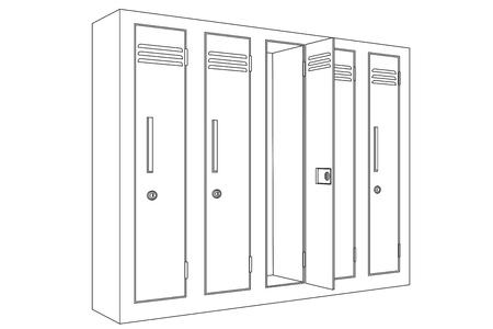 School locker with open door. Outline icon Illustration