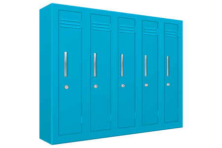 School lockers. Light blue 5 piece section