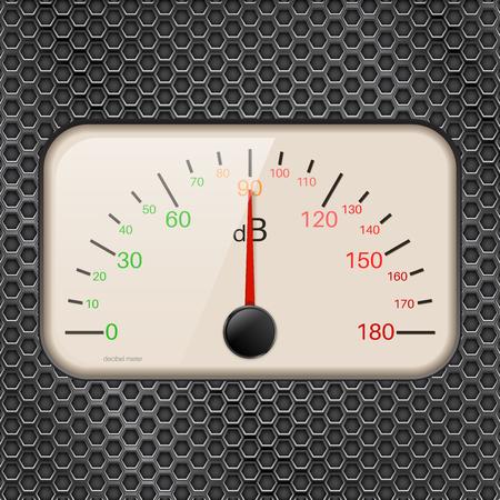 decibel: Decibel meter on metal perforated pattern