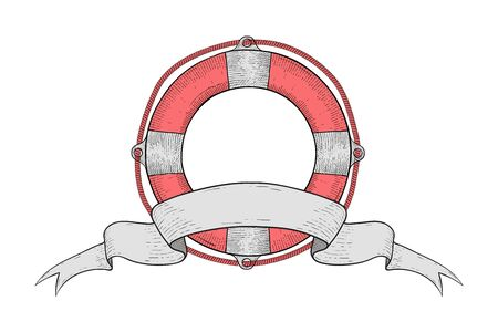 Lifebuoy with ribbon swirl banner. Hand drawn sketch