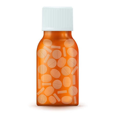 Brown medical bottle with pills