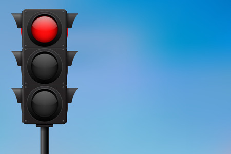 Traffic lights with red stop sign. On blue sky background Illustration