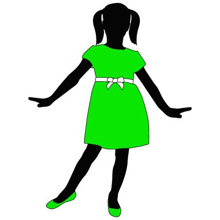 zapatos escolares: Niña pequeña en la presentación del vestido verde. Silueta