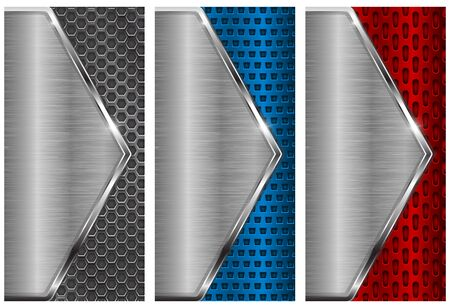 brushed steel: Metal brushed pattern with perforation. Red, blue and silver flyer templates