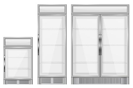 Display refrigerator. Set of commercial merchandisers Vectores