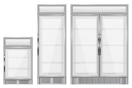 Display refrigerator. Set of commercial merchandisers Illustration