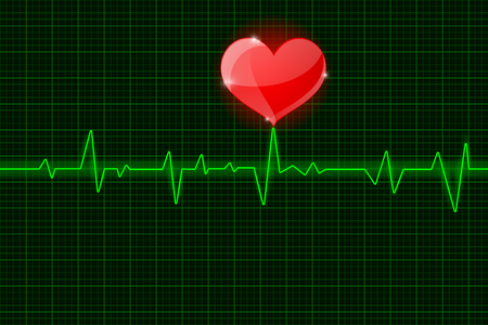 Electrocardiogram sign. Green waves with red heart symbol