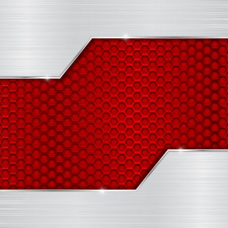 ブラシをかけられたクロム要素と赤の金属穿孔パターン