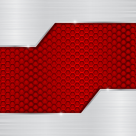 Red metal perforated pattern with brushed chrome element Иллюстрация
