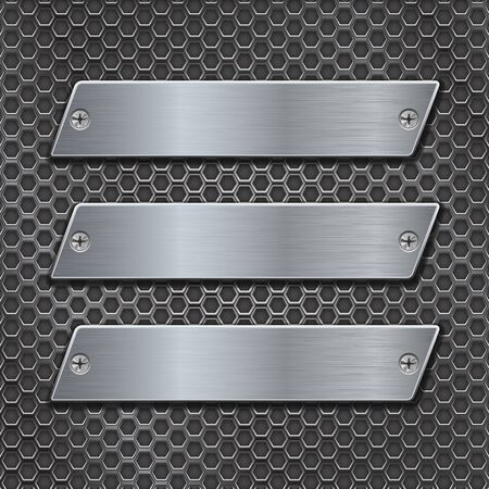 perforated: Metal plates on iron perforated background