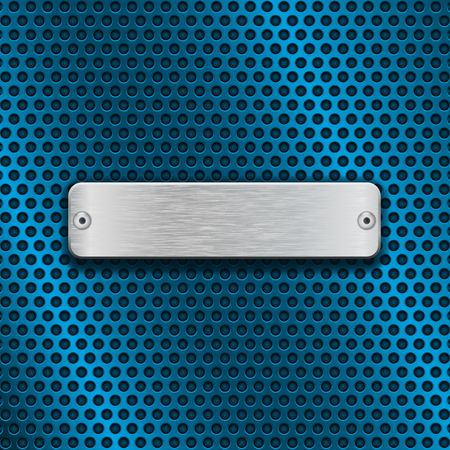 Stainless steel brushed plate on blue metal perforated background