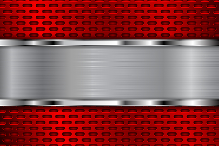 stainless steel: Red metal perforated background with shiny chrome plate. Oval shaped holes