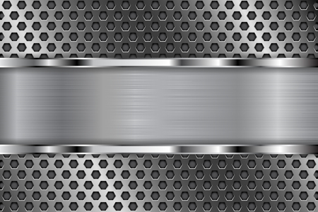 stainless steel: Metal perforated pattern with shiny chrome plate. Hexagon shaped holes Illustration