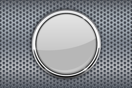 perforated: White glass button with chrome frame on metal perforated background Illustration