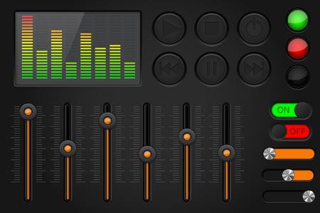 Equalizer media buttons set. Black and orange collection