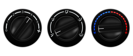 recirculate: Air conditioner car switch. Black selector for temperature, fan speed Illustration