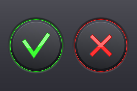 Cancel and Submit black buttons. Vector 3d illustration. Illustration
